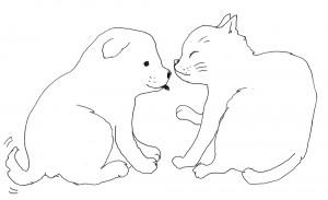 イラスト犬と猫